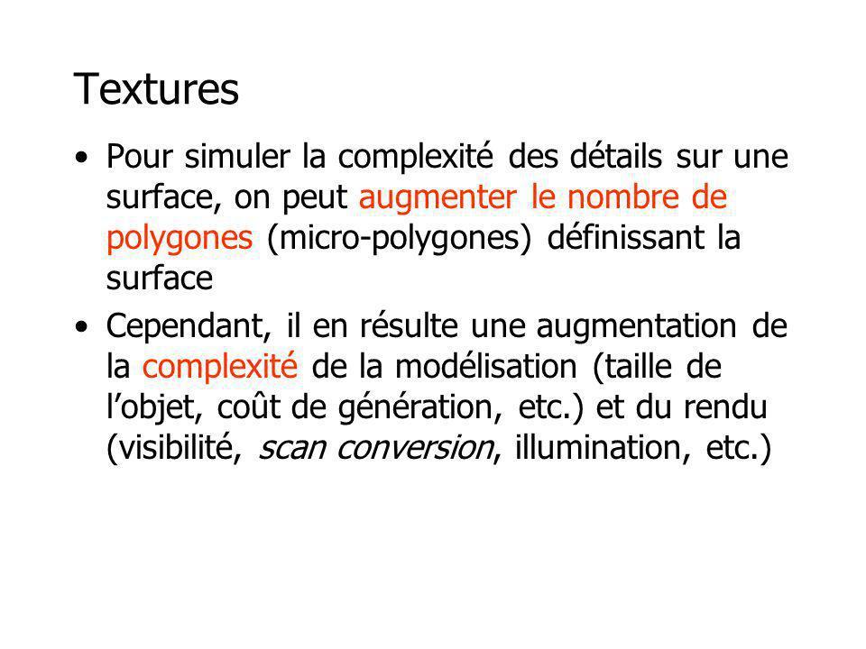Textures Pour simuler la complexité des détails sur une surface, on peut augmenter le nombre de polygones (micro-polygones) définissant la surface Cep