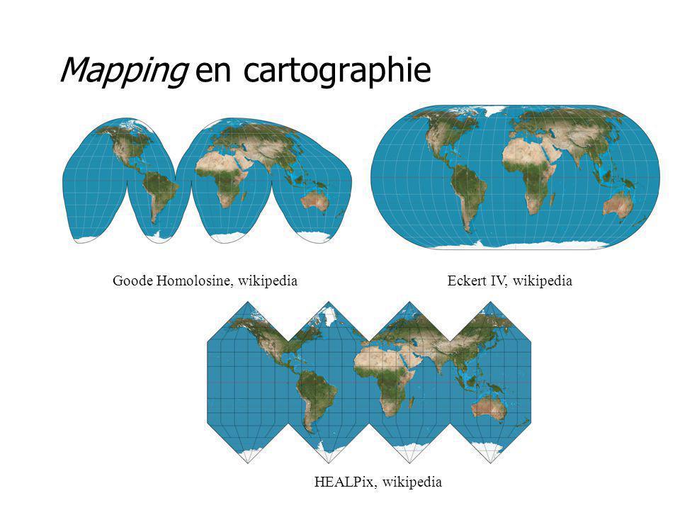 Mapping en cartographie HEALPix, wikipedia Eckert IV, wikipediaGoode Homolosine, wikipedia
