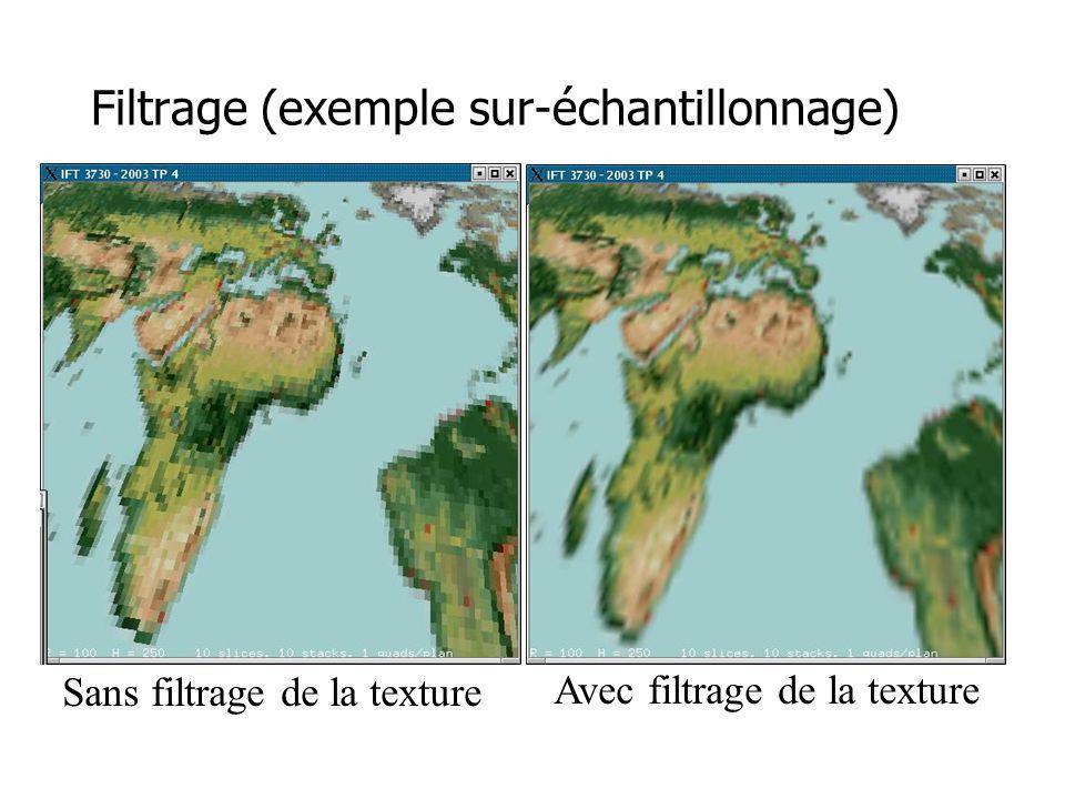 Filtrage (exemple sur-échantillonnage) Sans filtrage de la texture Avec filtrage de la texture