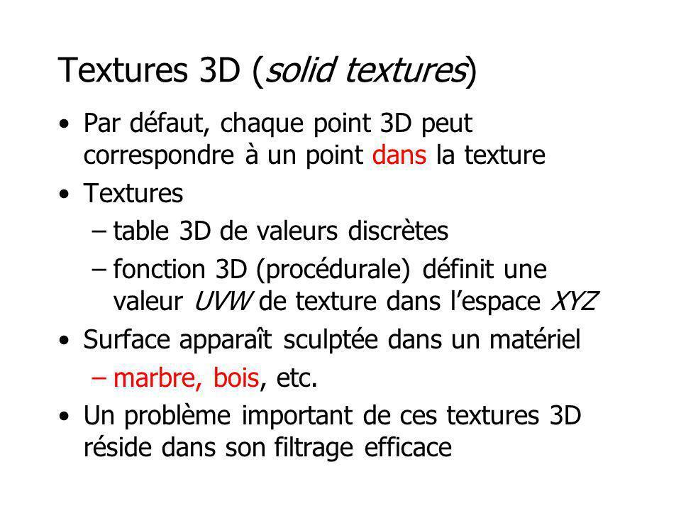 Textures 3D (solid textures) Par défaut, chaque point 3D peut correspondre à un point dans la texture Textures –table 3D de valeurs discrètes –fonctio