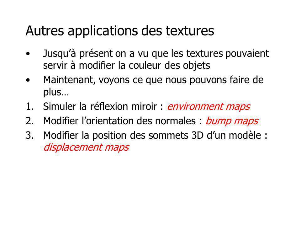 Autres applications des textures Jusquà présent on a vu que les textures pouvaient servir à modifier la couleur des objets Maintenant, voyons ce que n