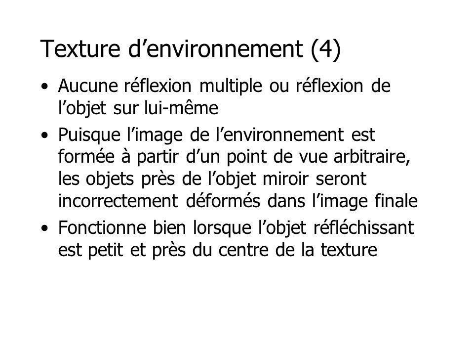 Texture denvironnement (4) Aucune réflexion multiple ou réflexion de lobjet sur lui-même Puisque limage de lenvironnement est formée à partir dun poin