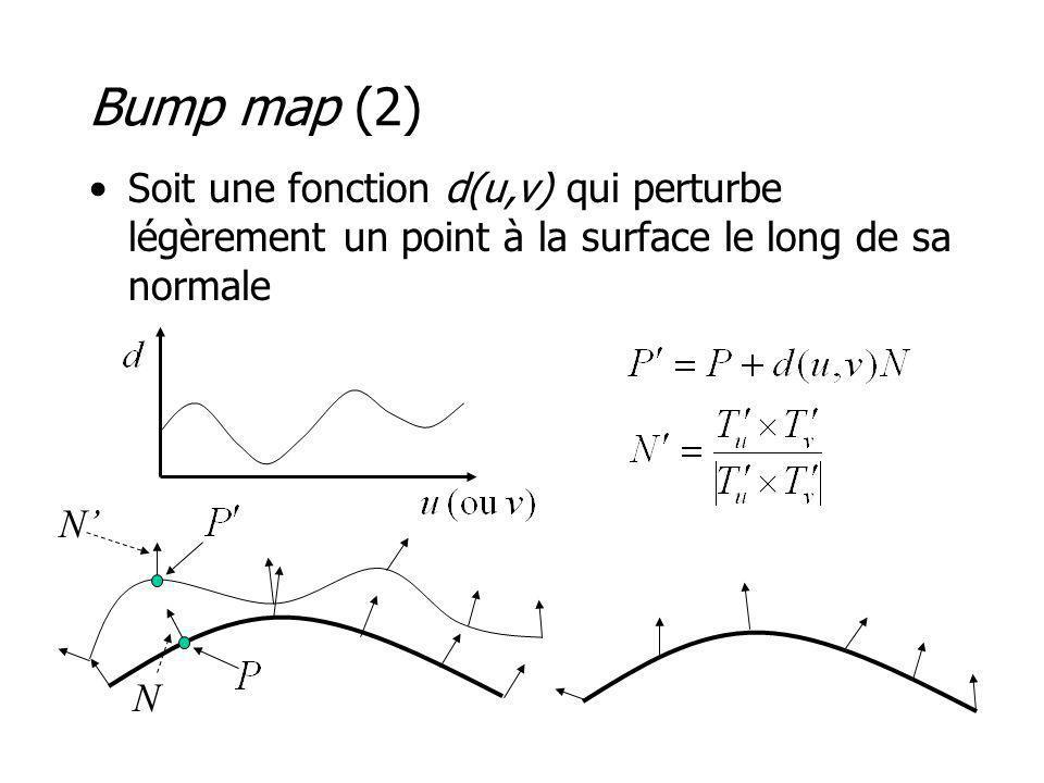 Bump map (2) Soit une fonction d(u,v) qui perturbe légèrement un point à la surface le long de sa normale N N