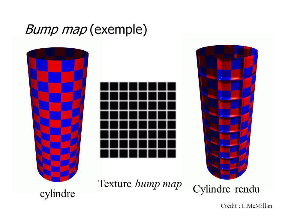 Bump map (exemple) Crédit : L.McMillan cylindre Texture bump map Cylindre rendu
