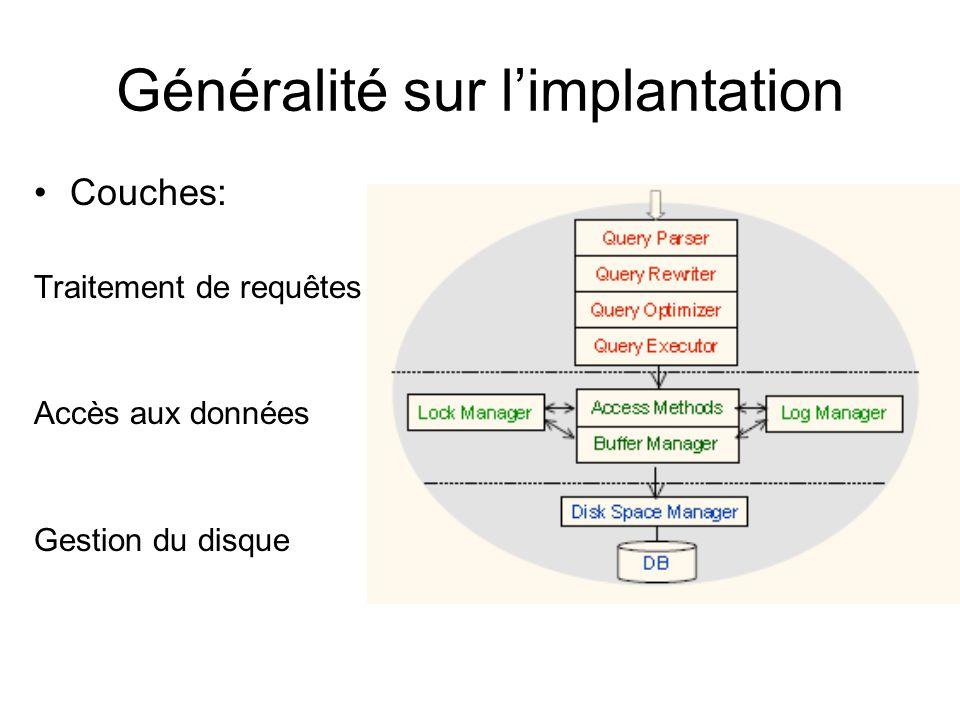 Généralité sur limplantation Couches: Traitement de requêtes Accès aux données Gestion du disque