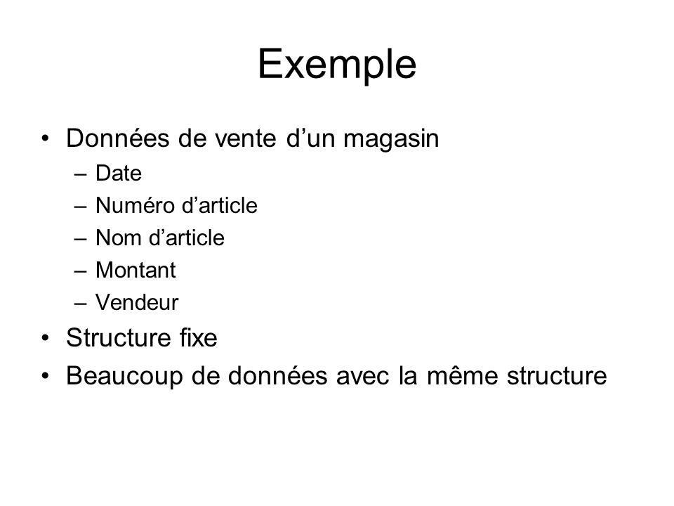 Exemple Données de vente dun magasin –Date –Numéro darticle –Nom darticle –Montant –Vendeur Structure fixe Beaucoup de données avec la même structure