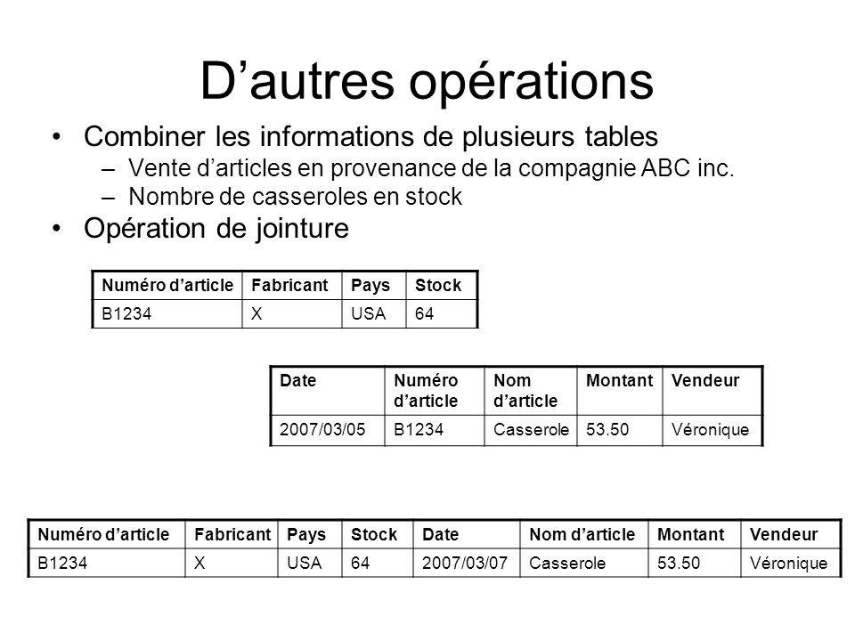 Dautres opérations Combiner les informations de plusieurs tables –Vente darticles en provenance de la compagnie ABC inc. –Nombre de casseroles en stoc