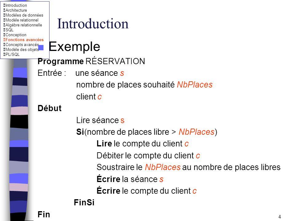 Introduction Architecture Modèles de données Modèle relationnel Algèbre relationnelle SQL Conception Fonctions avancées Concepts avancés Modèle des objets PL/SQL 5 Introduction n Notation -On notera lecture par : r -On notera écriture par : w - On notera une exécution du programme de réservation par : p Une exécution du programme p : r[s] r[c] w[c] w[s]