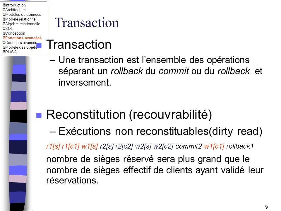 Introduction Architecture Modèles de données Modèle relationnel Algèbre relationnelle SQL Conception Fonctions avancées Concepts avancés Modèle des objets PL/SQL 10 Transaction n Reconstitution –solution (annulation en cascade) r1[s] r1[c1] w1[s] r2[s] r2[c2] w2[s] w2[c2] w1[c1] rollback1 annuler la transaction 2 sans la transaction n ait validé.
