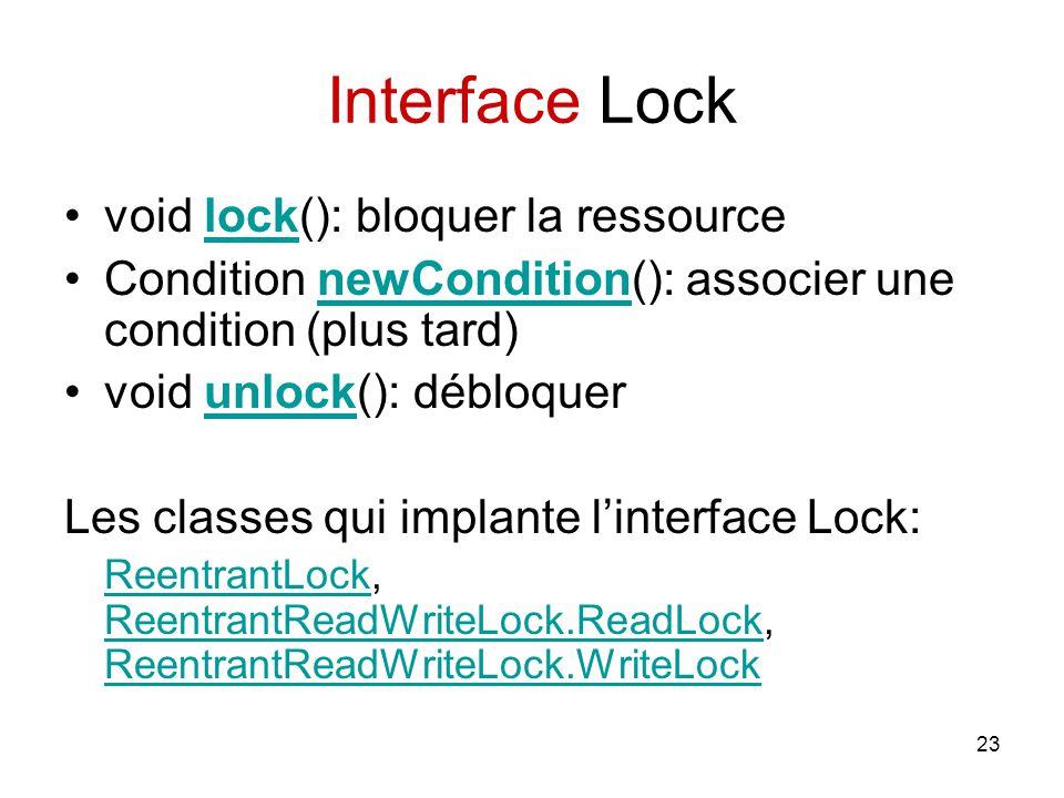 23 Interface Lock void lock(): bloquer la ressourcelock Condition newCondition(): associer une condition (plus tard)newCondition void unlock(): débloq