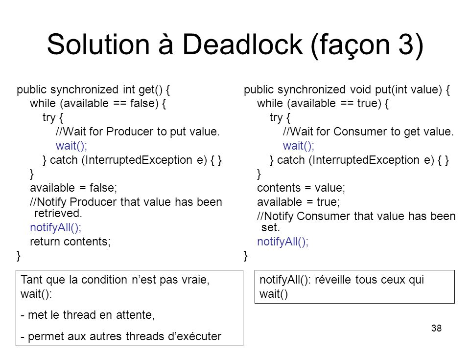 38 Solution à Deadlock (façon 3) public synchronized int get() { while (available == false) { try { //Wait for Producer to put value.