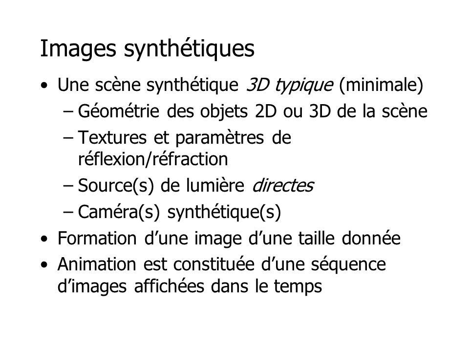 Images synthétiques Une scène synthétique 3D typique (minimale) –Géométrie des objets 2D ou 3D de la scène –Textures et paramètres de réflexion/réfraction –Source(s) de lumière directes –Caméra(s) synthétique(s) Formation dune image dune taille donnée Animation est constituée dune séquence dimages affichées dans le temps