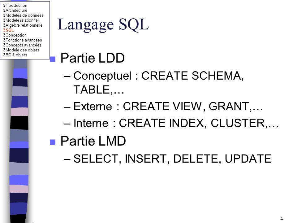Introduction Architecture Modèles de données Modèle relationnel Algèbre relationnelle SQL Conception Fonctions avancées Concepts avancées Modèle des objets BD à objets 15 Type SQL n Date et temps –DATE : année (quatre chiffres), mois (2 chiffres) et jour (2 chiffres) Exemple : DATE 1998-08-25 ALTER SESSION SET NLS_DATE_FORMAT = DD/MM/YYYY –TIME[(p)] : heure (2 chiffres), minutes (2 chiffres), secondes (2 +p chiffres) Exemple : TIME 14:04:32.25 –TIMESTAMP[(p)] : DATE + TIME Exemple : TIMESTAMP 1998-08-25 14:04:32.25 –INTERVAL : Représente un intervalle de temps Exemple : INTERVAL 2 DAY