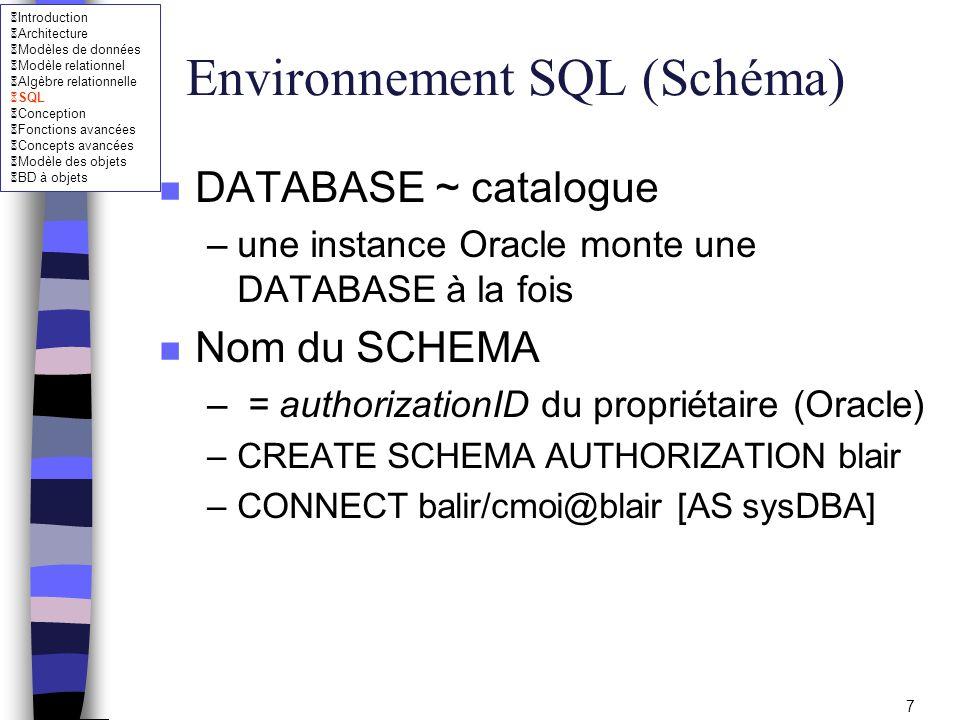 Introduction Architecture Modèles de données Modèle relationnel Algèbre relationnelle SQL Conception Fonctions avancées Concepts avancées Modèle des objets BD à objets 58 SQL intégré n Déclarations (variables de communication) –Utilisation dans SQL EXEC SQL SELECT DEPTO, ENAME INTO :pdeptno, :pname FROM EMP WHERE EMPNO = :pempno; Variables précédées de : pour les distinguer des noms des attributs –Utilisation dans C strcpy(pname, Martin ) ; –Les types possibles pour ces variables sont ceux compatibles avec ORACLE (entiers, réels, chaînes de caractères)