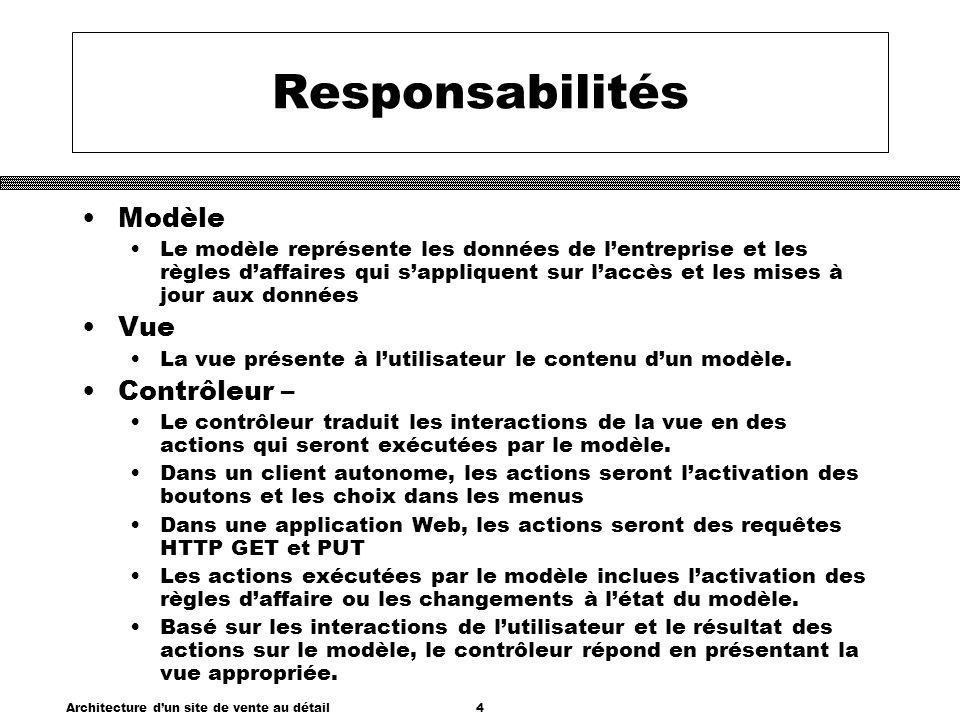Architecture dun site de vente au détail4 Responsabilités Modèle Le modèle représente les données de lentreprise et les règles daffaires qui sappliquent sur laccès et les mises à jour aux données Vue La vue présente à lutilisateur le contenu dun modèle.