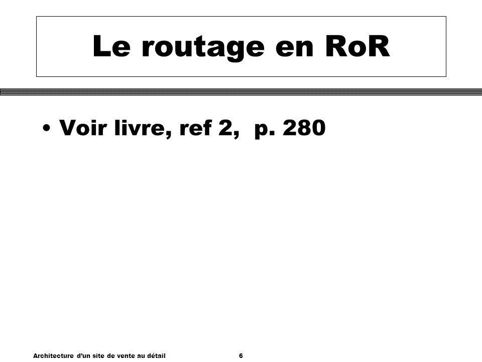 Architecture dun site de vente au détail6 Le routage en RoR Voir livre, ref 2, p. 280