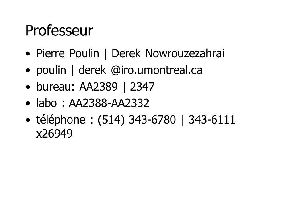 Professeur Pierre Poulin | Derek Nowrouzezahrai poulin | derek @iro.umontreal.ca bureau: AA2389 | 2347 labo : AA2388-AA2332 téléphone : (514) 343-6780