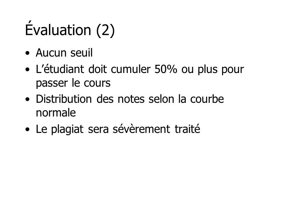 Évaluation (2) Aucun seuil Létudiant doit cumuler 50% ou plus pour passer le cours Distribution des notes selon la courbe normale Le plagiat sera sévè