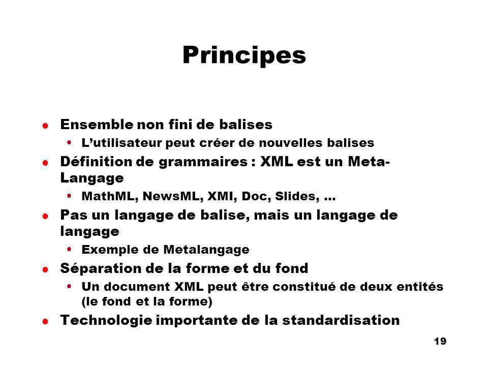 An Introduction to distributed applications and ecommerce 19 19 Principes l Ensemble non fini de balises Lutilisateur peut créer de nouvelles balises l Définition de grammaires : XML est un Meta- Langage MathML, NewsML, XMI, Doc, Slides, … l Pas un langage de balise, mais un langage de langage Exemple de Metalangage l Séparation de la forme et du fond Un document XML peut être constitué de deux entités (le fond et la forme) l Technologie importante de la standardisation