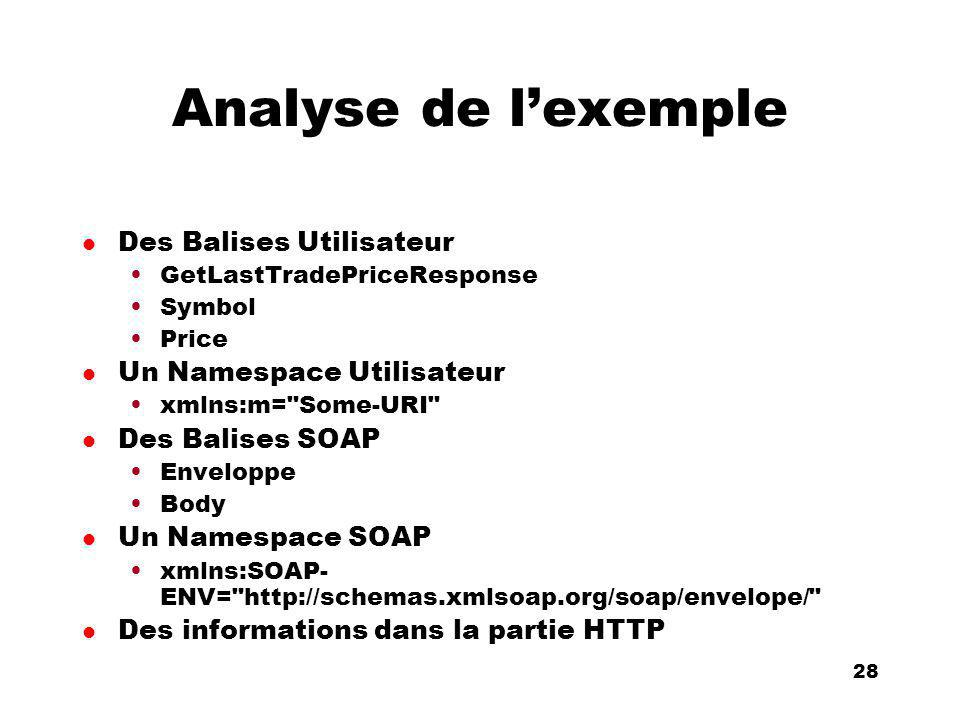An Introduction to distributed applications and ecommerce 28 28 Analyse de lexemple l Des Balises Utilisateur GetLastTradePriceResponse Symbol Price l Un Namespace Utilisateur xmlns:m= Some-URI l Des Balises SOAP Enveloppe Body l Un Namespace SOAP xmlns:SOAP- ENV= http://schemas.xmlsoap.org/soap/envelope/ l Des informations dans la partie HTTP