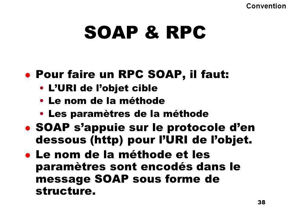 An Introduction to distributed applications and ecommerce 38 38 SOAP & RPC l Pour faire un RPC SOAP, il faut: LURI de lobjet cible Le nom de la méthode Les paramètres de la méthode l SOAP sappuie sur le protocole den dessous (http) pour lURI de lobjet.