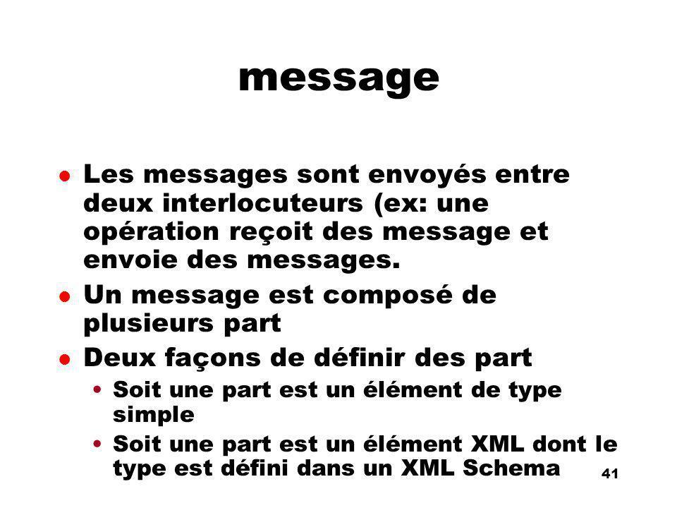 An Introduction to distributed applications and ecommerce 41 41 message l Les messages sont envoyés entre deux interlocuteurs (ex: une opération reçoi