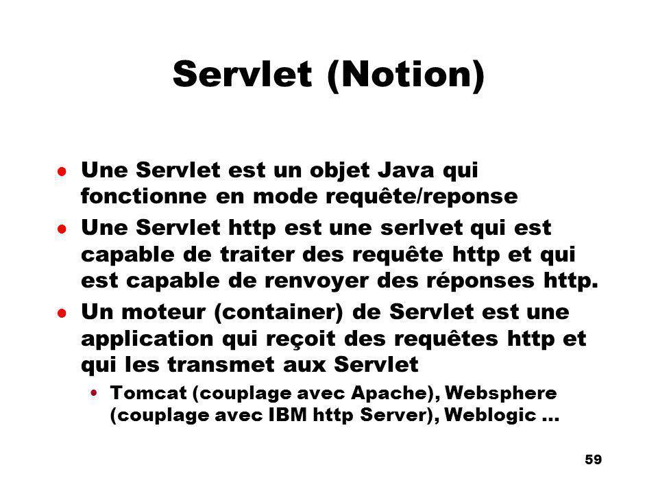 An Introduction to distributed applications and ecommerce 59 59 Servlet (Notion) l Une Servlet est un objet Java qui fonctionne en mode requête/reponse l Une Servlet http est une serlvet qui est capable de traiter des requête http et qui est capable de renvoyer des réponses http.