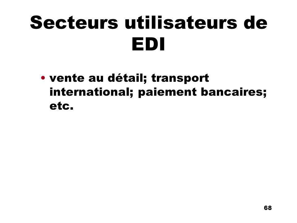 An Introduction to distributed applications and ecommerce 68 68 Secteurs utilisateurs de EDI vente au détail; transport international; paiement bancaires; etc.