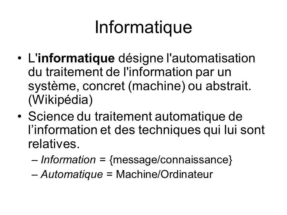 Traitement de linformation Structuration Transformation Mémorisation Archivage Restitution Transmission …