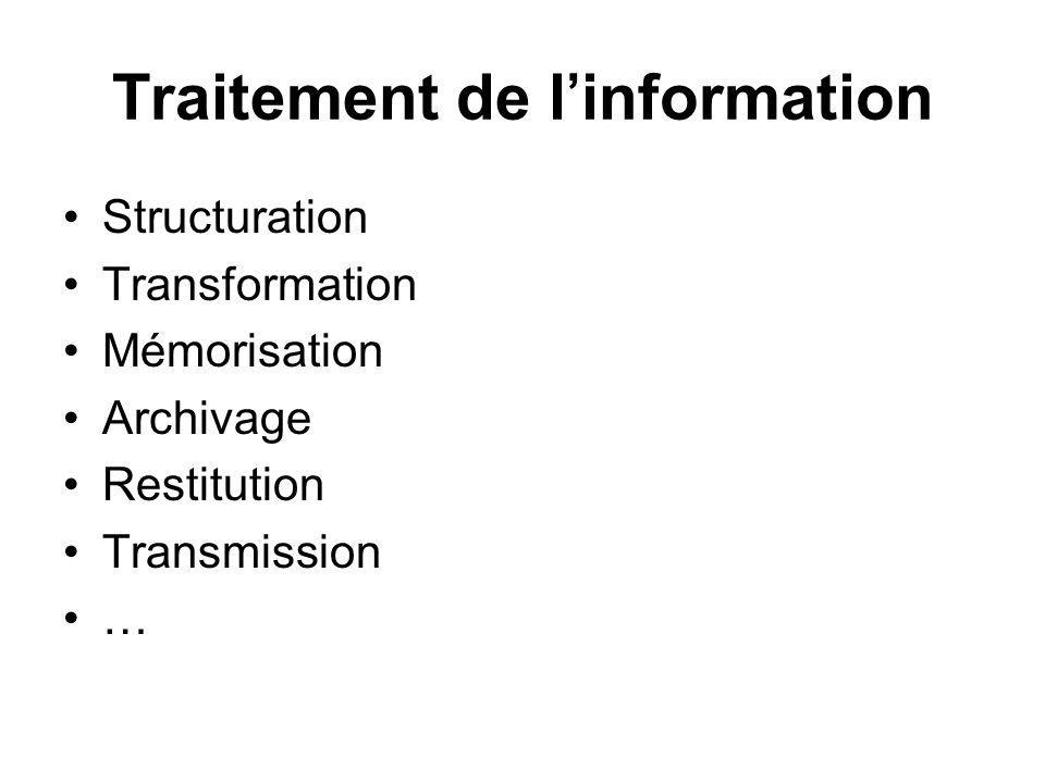 Traitement de linformation Structuration Transformation Mémorisation Archivage Restitution Transmission …
