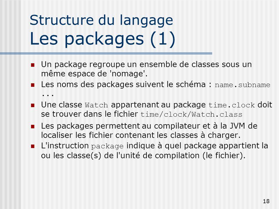 18 Structure du langage Les packages (1) Un package regroupe un ensemble de classes sous un même espace de nomage .