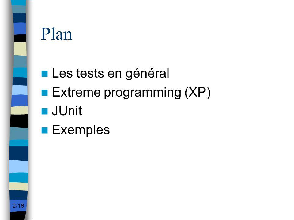 2/16 Plan Les tests en général Extreme programming (XP) JUnit Exemples