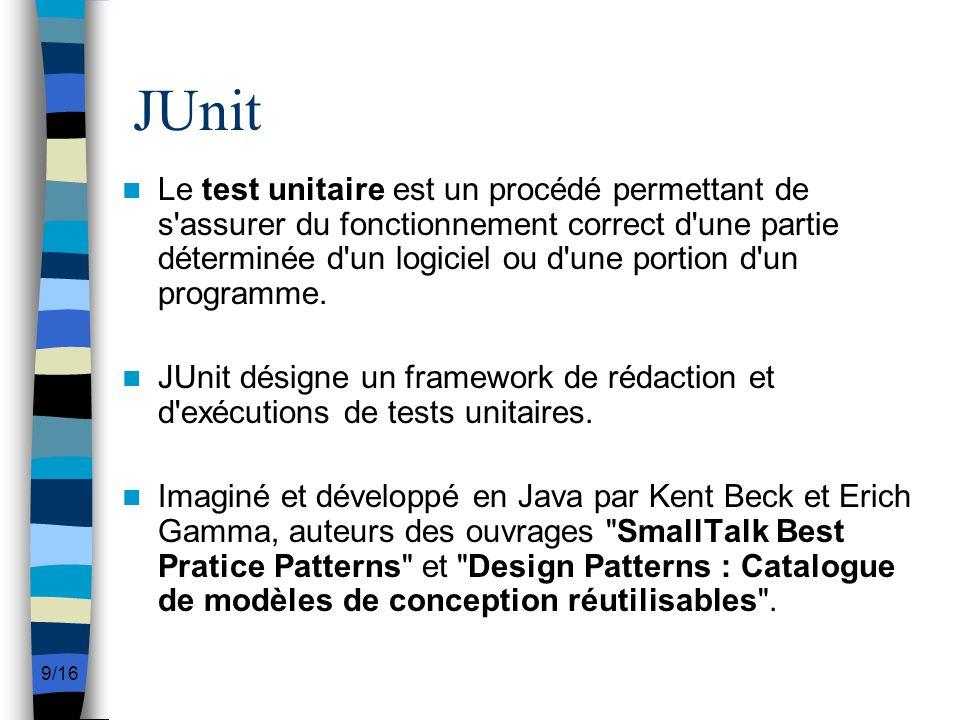 9/16 JUnit Le test unitaire est un procédé permettant de s'assurer du fonctionnement correct d'une partie déterminée d'un logiciel ou d'une portion d'
