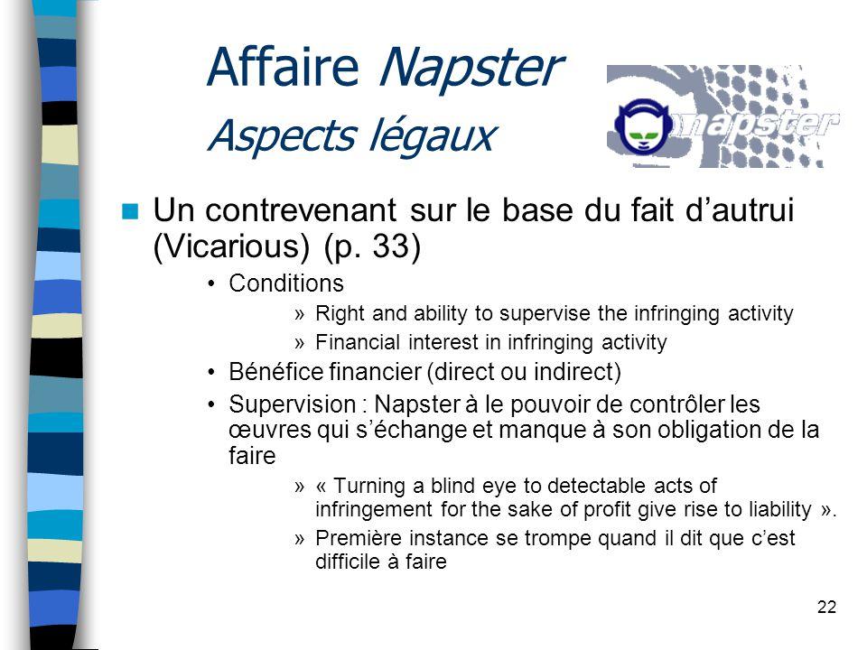 22 Affaire Napster Aspects légaux Un contrevenant sur le base du fait dautrui (Vicarious) (p.