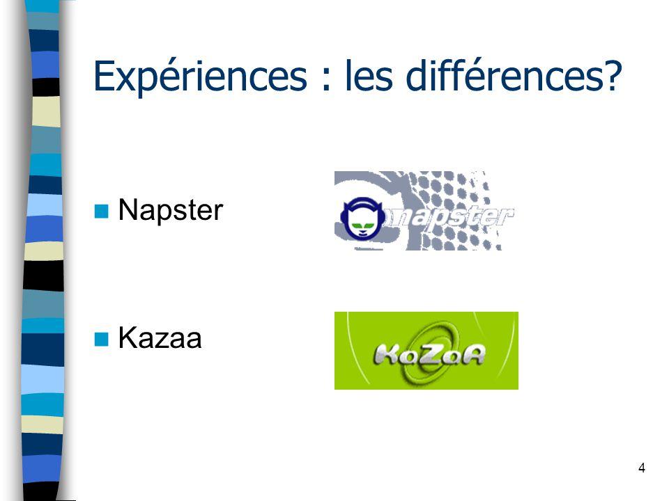 4 Expériences : les différences Napster Kazaa