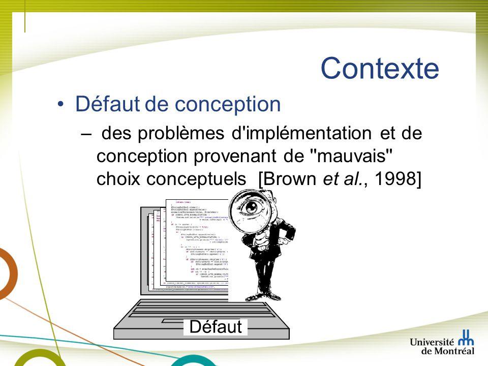 Contexte Défaut de conception – des problèmes d implémentation et de conception provenant de mauvais choix conceptuels [Brown et al., 1998]