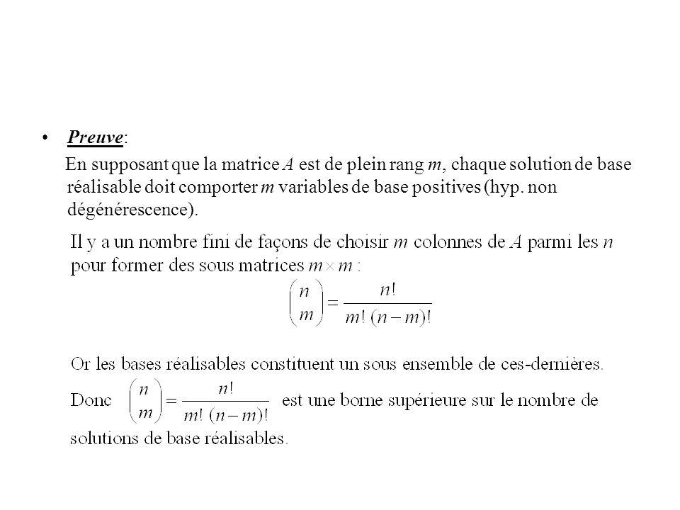 Preuve: En supposant que la matrice A est de plein rang m, chaque solution de base réalisable doit comporter m variables de base positives (hyp.