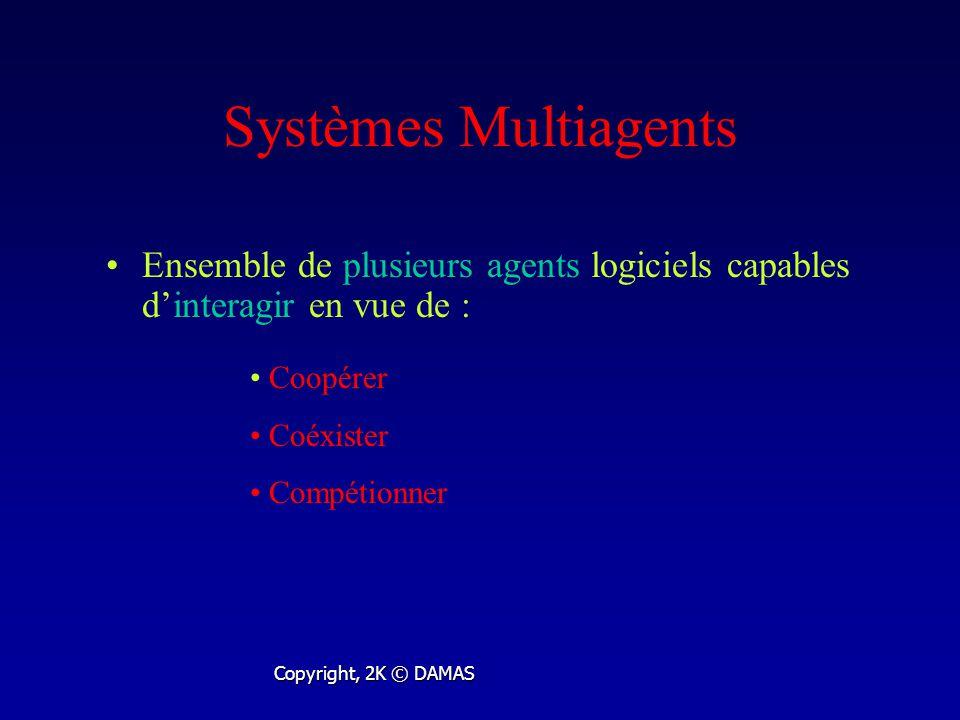 Systèmes Multiagents Ensemble de plusieurs agents logiciels capables dinteragir en vue de : Copyright, 2K © DAMAS Coopérer Coéxister Compétionner