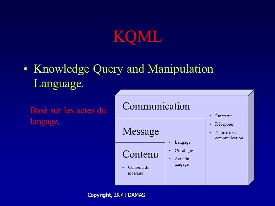 KQML Knowledge Query and Manipulation Language. Basé sur les actes du langage.
