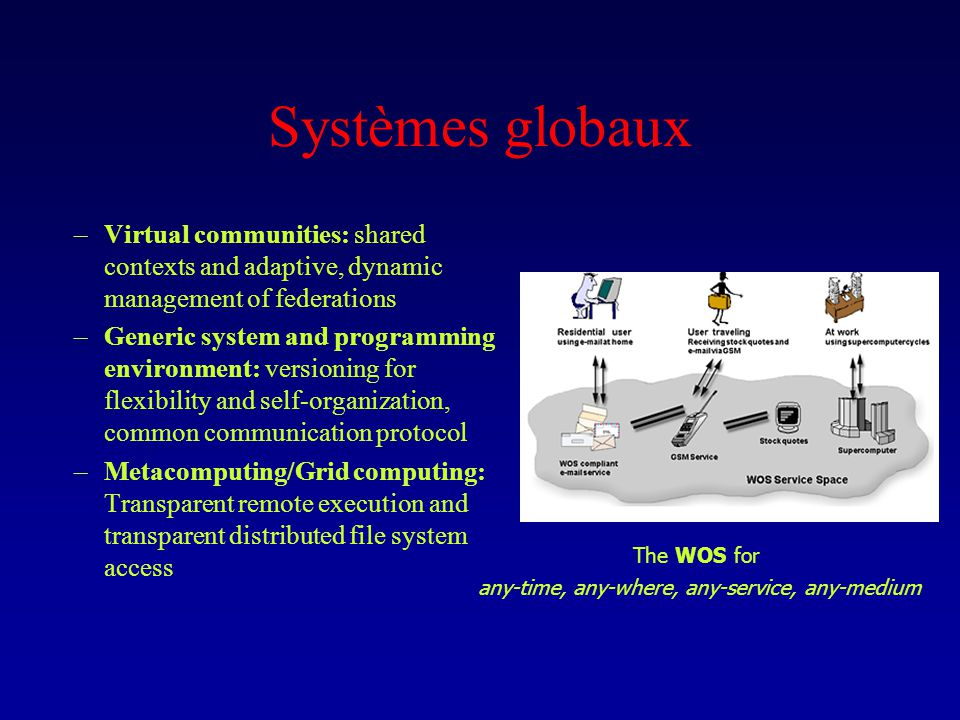 Systèmes globaux –Virtual communities: shared contexts and adaptive, dynamic management of federations –Generic system and programming environment: ve