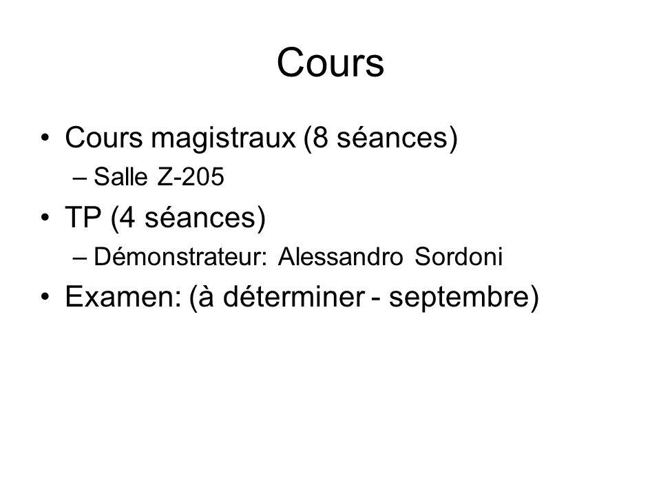 Cours Cours magistraux (8 séances) –Salle Z-205 TP (4 séances) –Démonstrateur: Alessandro Sordoni Examen: (à déterminer - septembre)