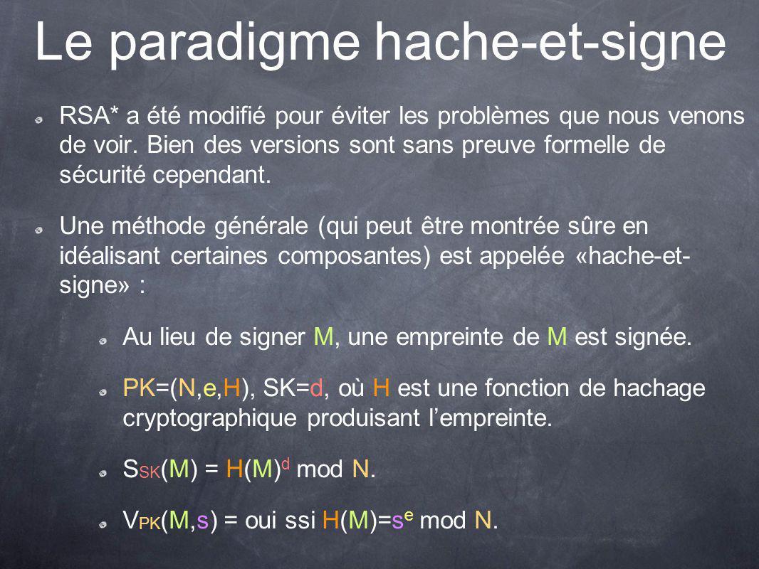 Le paradigme hache-et-signe RSA* a été modifié pour éviter les problèmes que nous venons de voir.