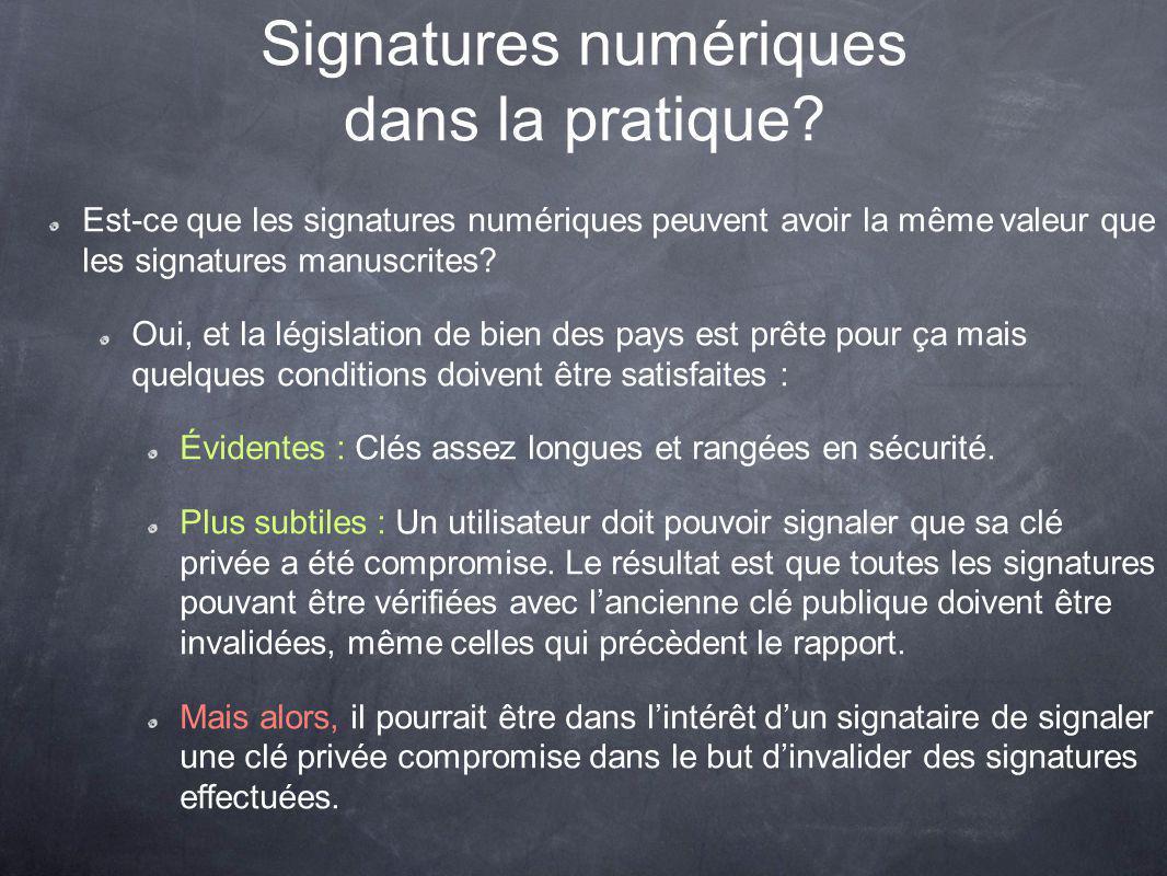Signatures numériques dans la pratique.