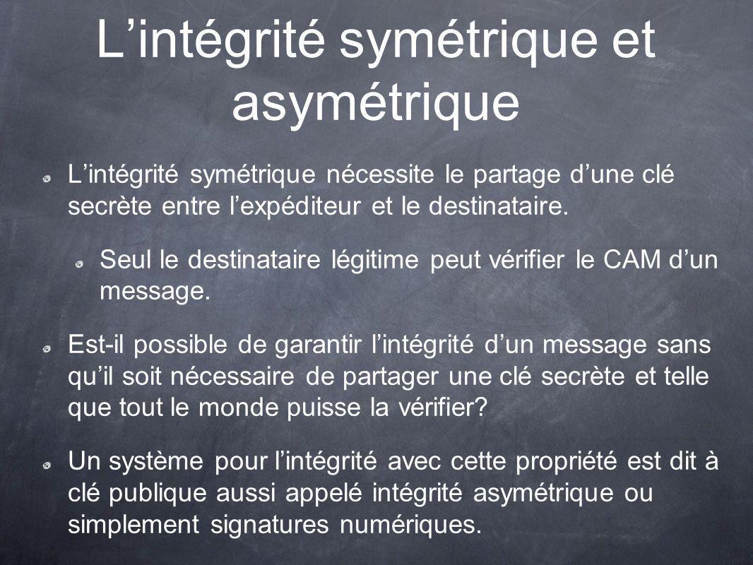 Lintégrité symétrique et asymétrique Lintégrité symétrique nécessite le partage dune clé secrète entre lexpéditeur et le destinataire.