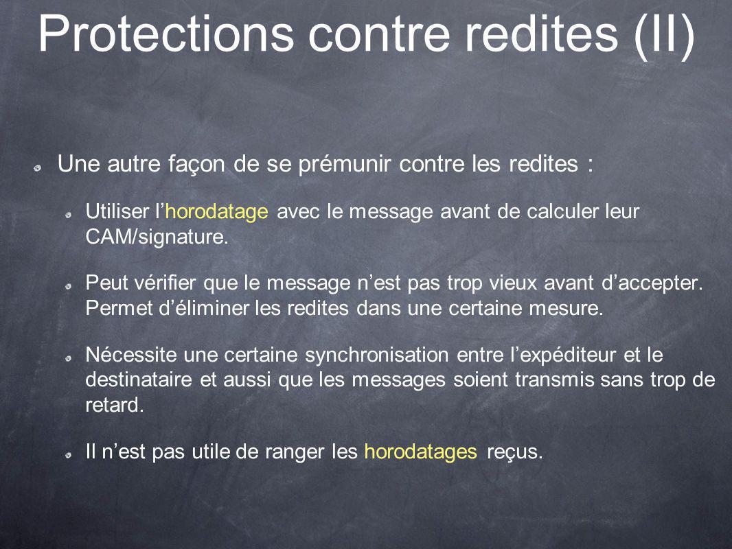 Protections contre redites (II) Une autre façon de se prémunir contre les redites : Utiliser lhorodatage avec le message avant de calculer leur CAM/signature.