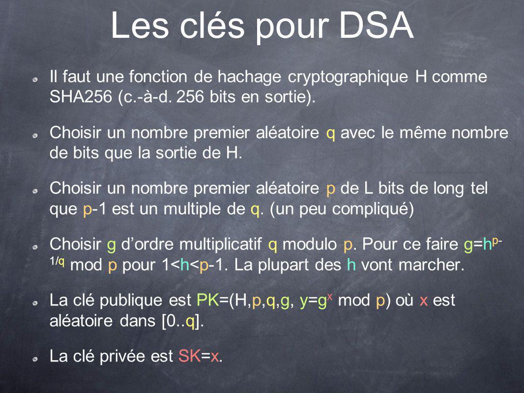 Les clés pour DSA Il faut une fonction de hachage cryptographique H comme SHA256 (c.-à-d.
