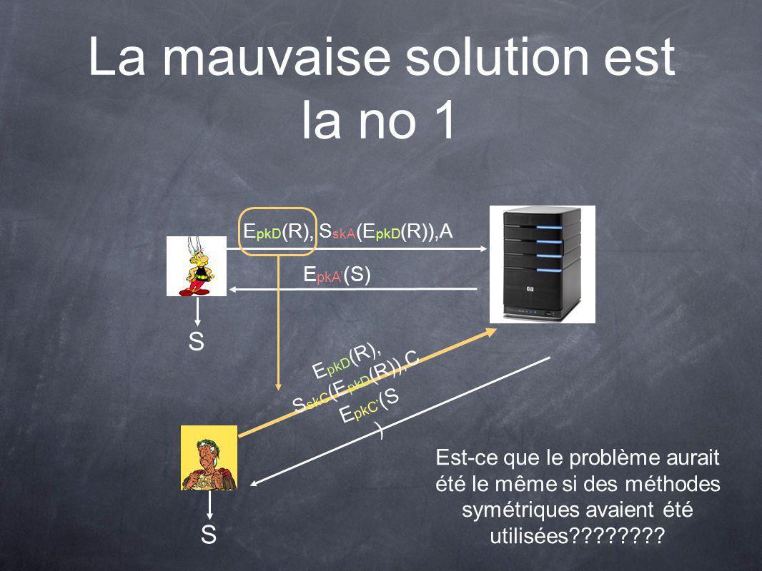 La mauvaise solution est la no 1 E pkD (R), S skA (E pkD (R)),A E pkA (S) E pkD (R), S skC (E pkD (R)),C E pkC (S ) SS Est-ce que le problème aurait été le même si des méthodes symétriques avaient été utilisées????????