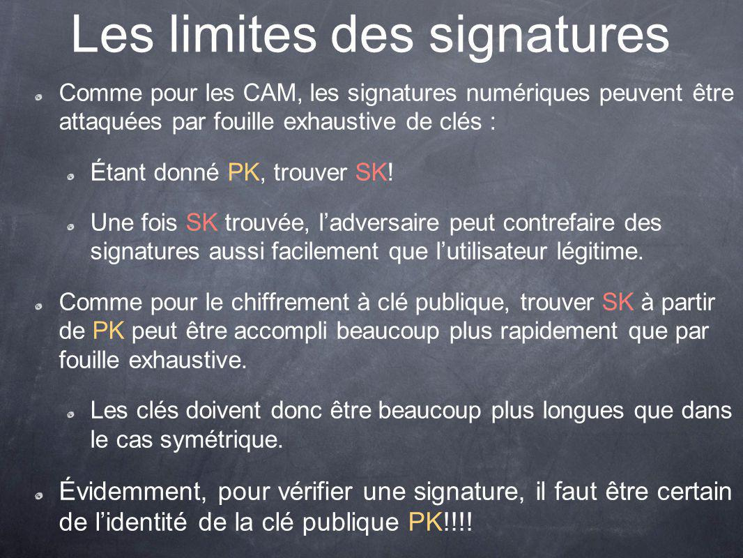 Les limites des signatures Comme pour les CAM, les signatures numériques peuvent être attaquées par fouille exhaustive de clés : Étant donné PK, trouver SK.