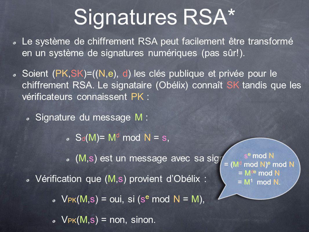 Sûreté des signatures RSA* Supposons que César veuille faire passer le message M* pour un qui provienne dObélix dont la clé publique est PK=(N,e) : César doit réussir à évaluer (M*) d mod N où d=e -1 mod φ(N).
