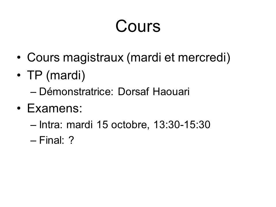 Cours Cours magistraux (mardi et mercredi) TP (mardi) –Démonstratrice: Dorsaf Haouari Examens: –Intra: mardi 15 octobre, 13:30-15:30 –Final: ?